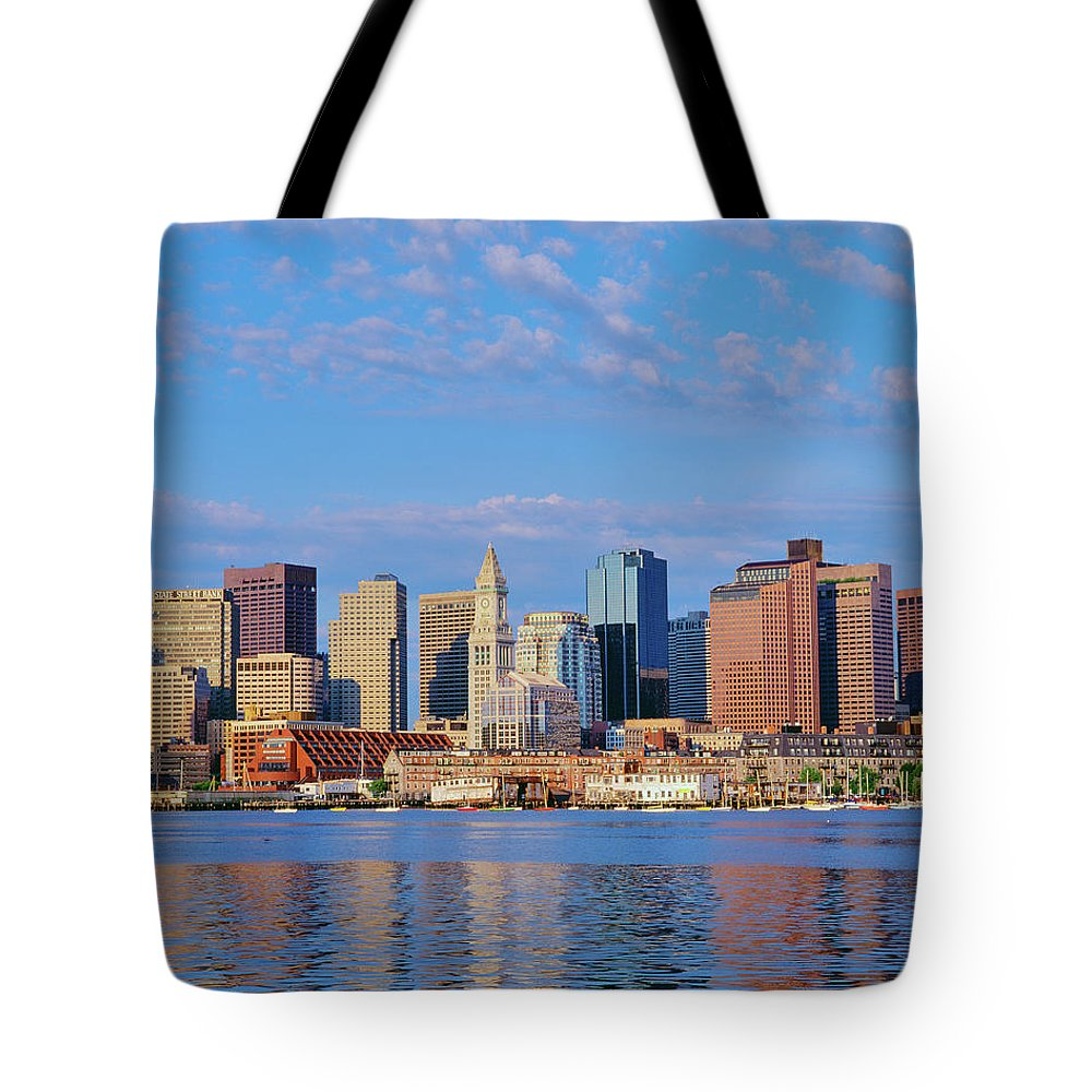 Photography Tote Bag featuring the photograph Boston Skyline And Harbor, Massachusetts by Panoramic Images