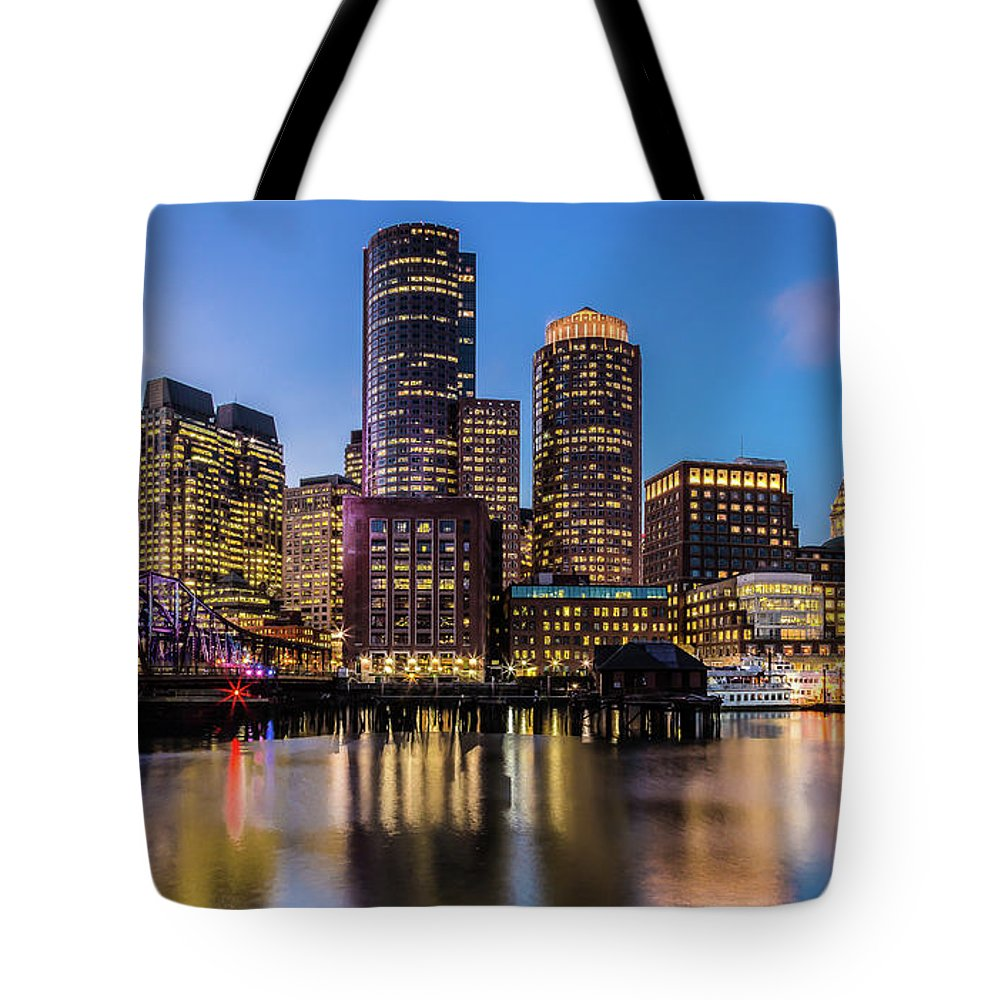 Downtown District Tote Bag featuring the photograph Boston Skyline At Sunset by (c) Swapan Jha