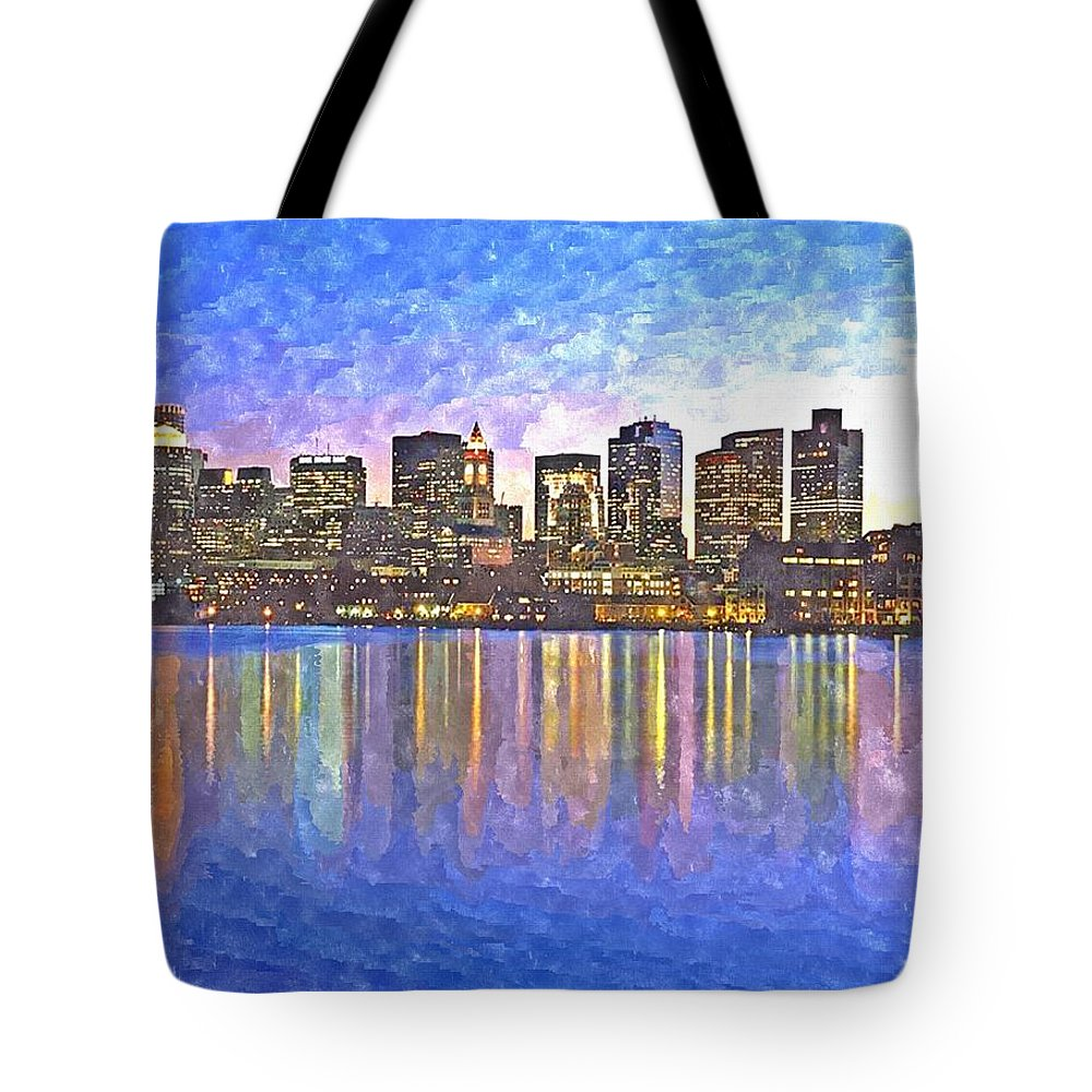Boston Tote Bag featuring the painting Boston Skyline By Night by Rachel Niedermayer