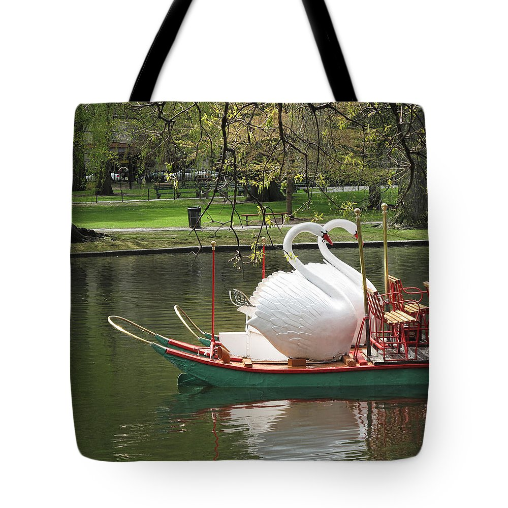 Landscape Tote Bag featuring the photograph Boston Swan Boats by Barbara McDevitt