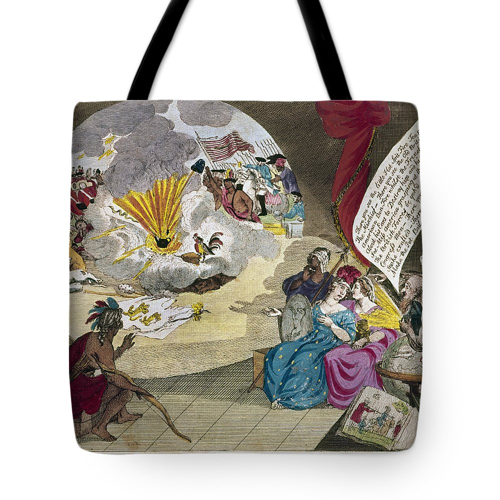1783 Tote Bag featuring the photograph Boston Tea Party Cartoon by Granger