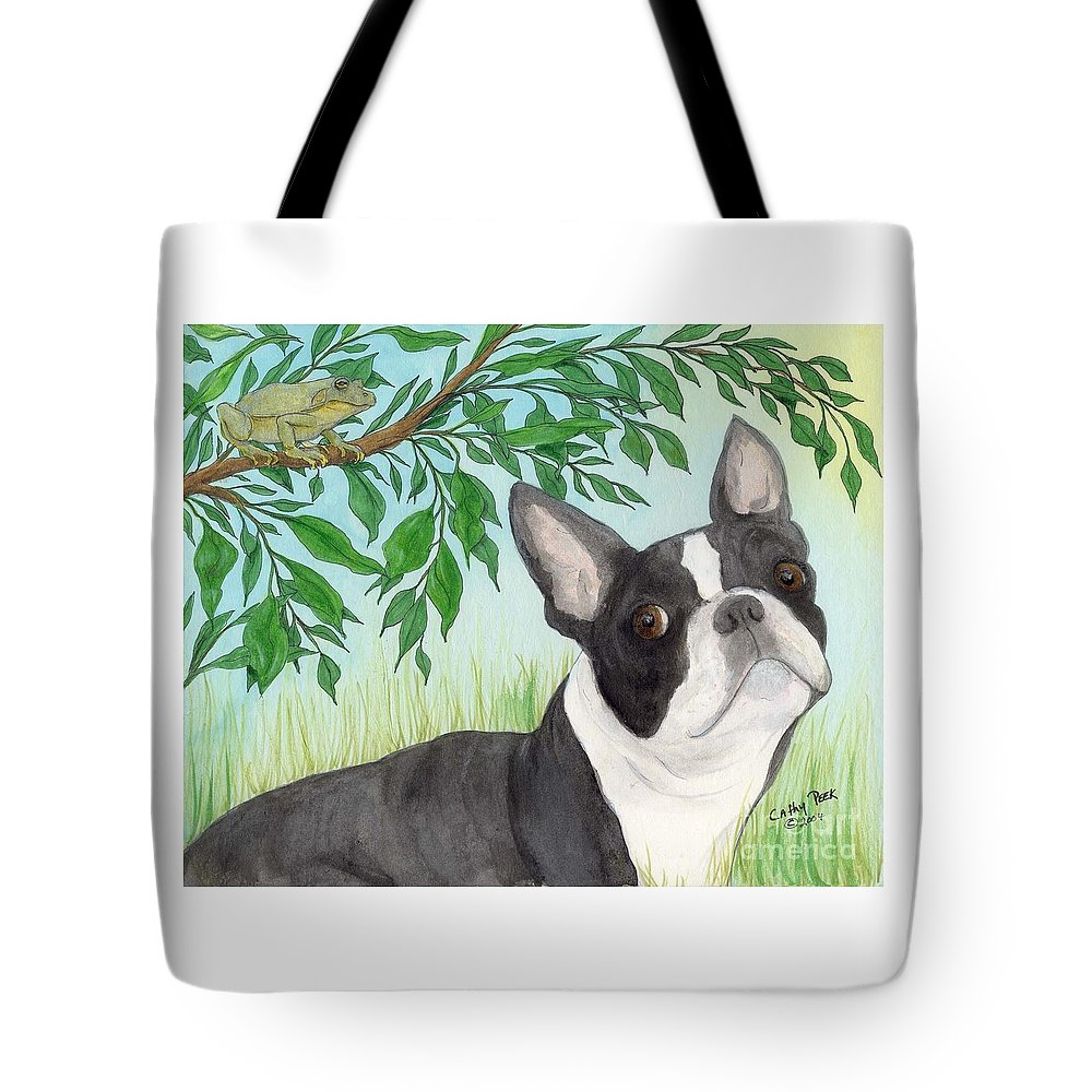 Boston Tote Bag featuring the painting Boston Terrier Dog Tree Frog Cathy Peek Art by Cathy Peek