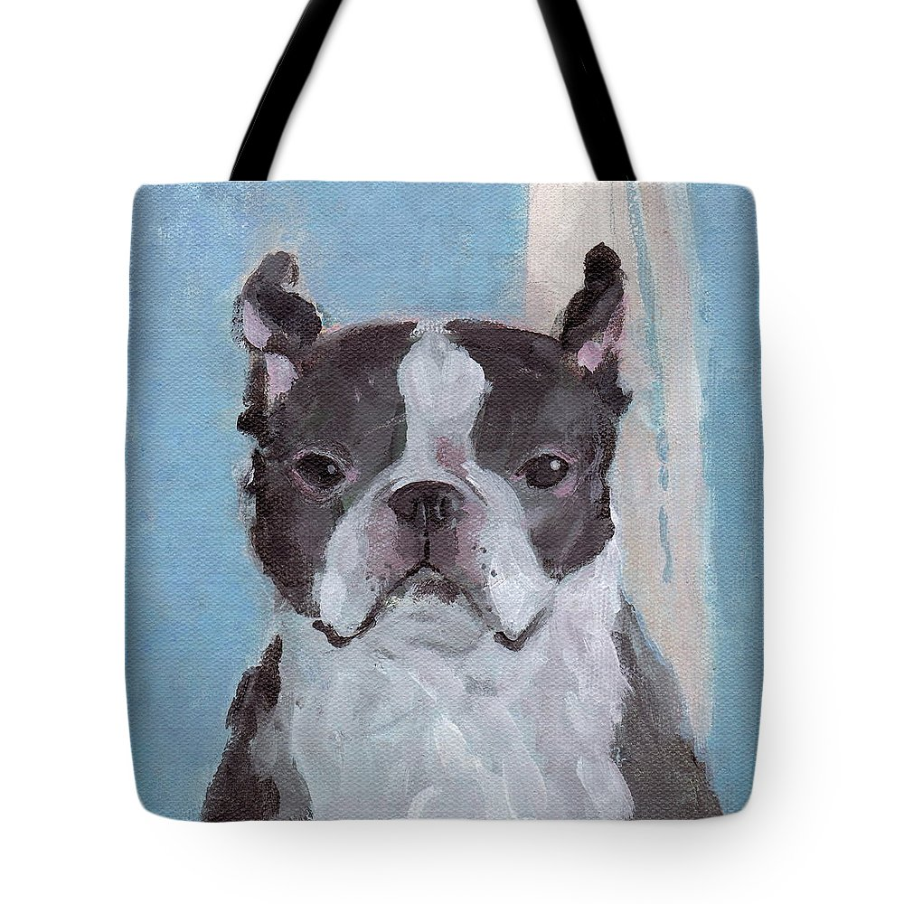 Boston Terrier Tote Bag featuring the painting Boston Terrier by Kazumi Whitemoon