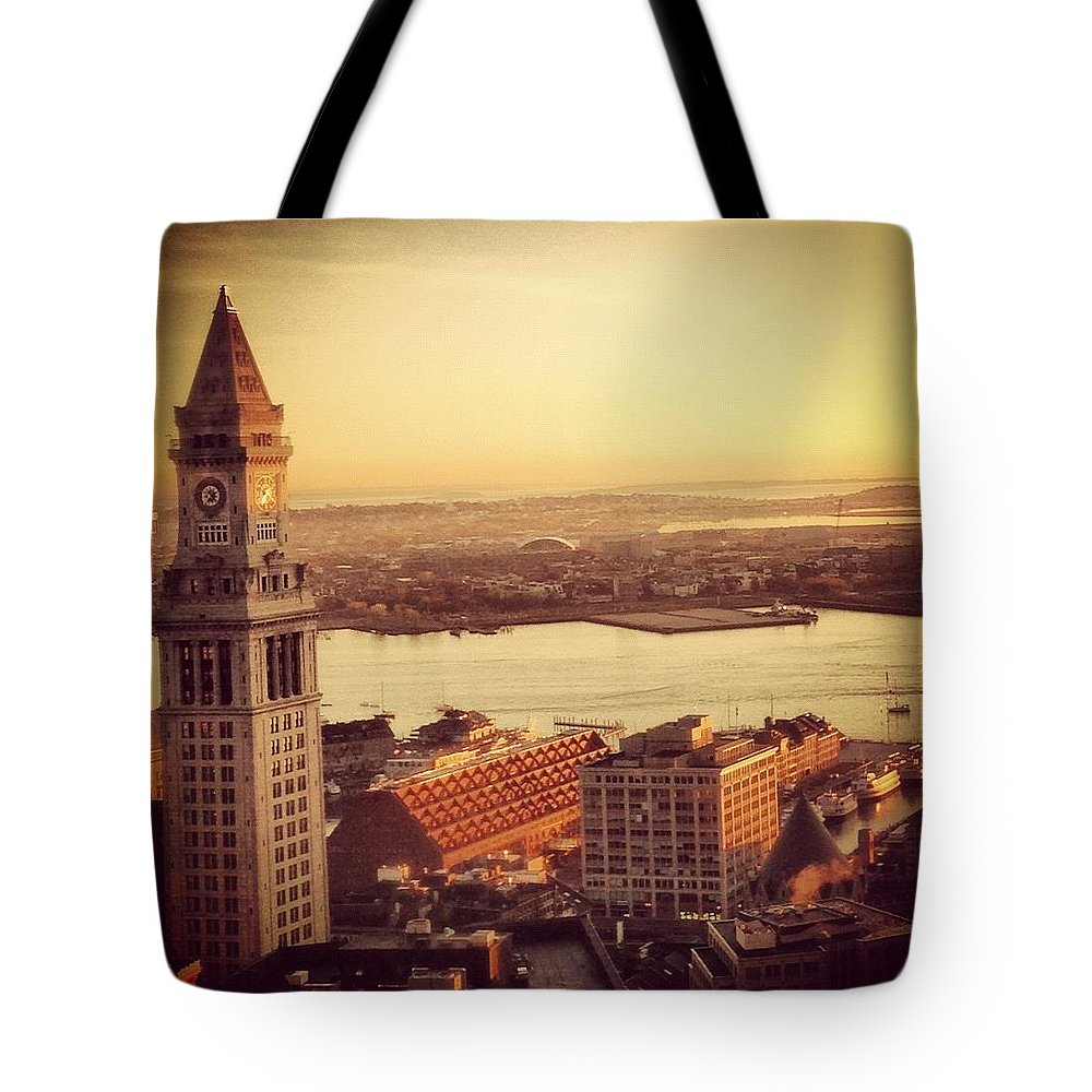 Boston Tote Bag featuring the photograph Boston's Custom House by Mark Valentine