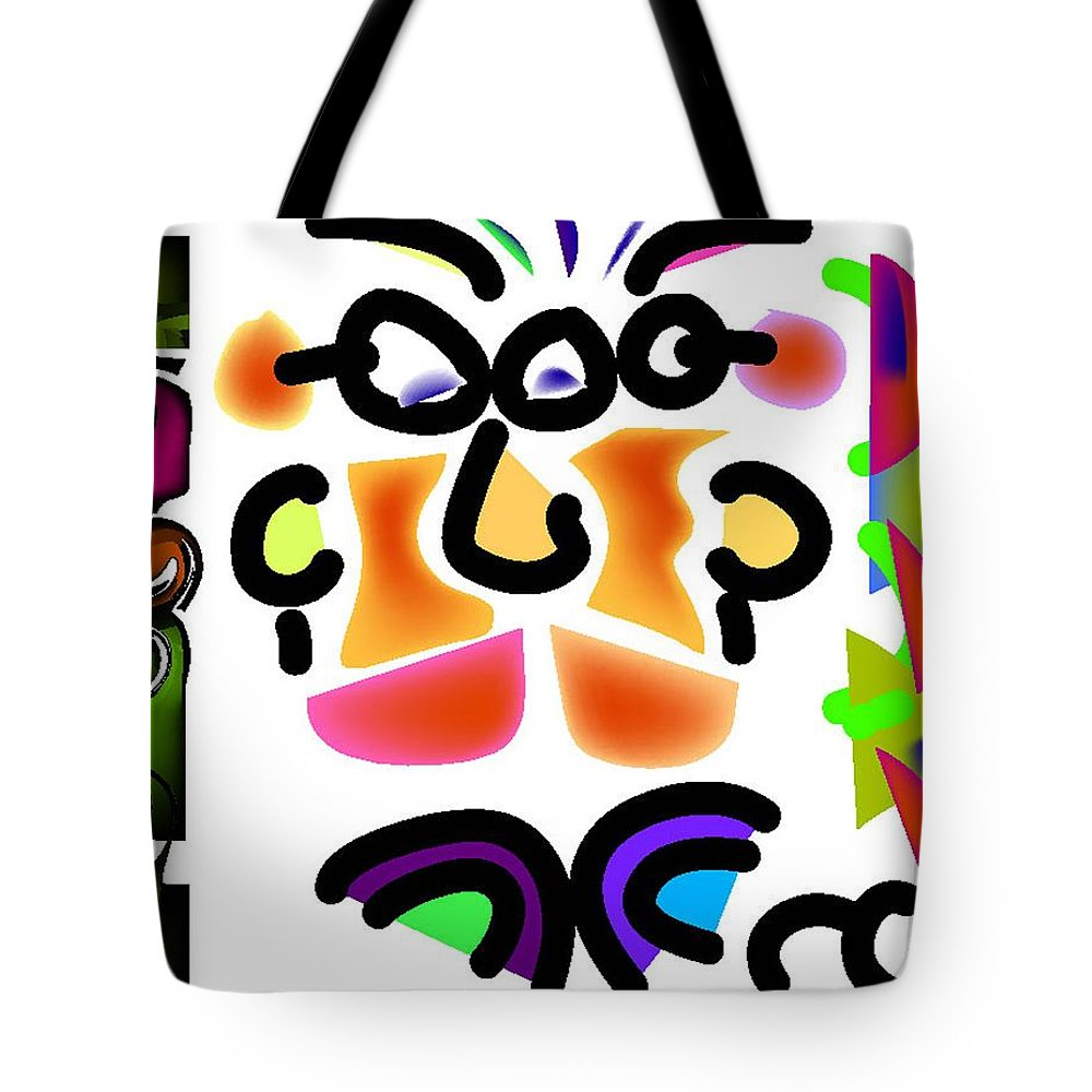 Life's Crazy Tote Bag featuring the digital art Both Sides Of Your Face by Andy Cordan