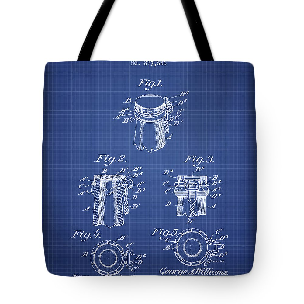 Beer Tote Bag featuring the digital art Bottle Cap Fastener Patent From 1907- Blueprint by Aged Pixel