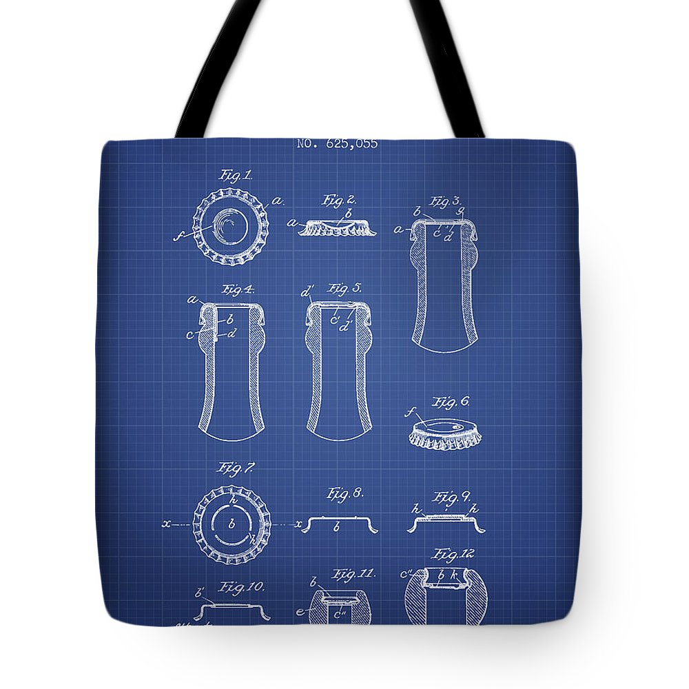 Beer Tote Bag featuring the digital art Bottle Cap Patent 1899- Blueprint by Aged Pixel