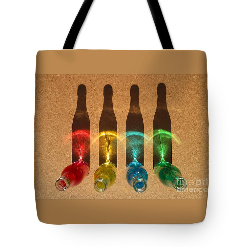 Bottle Tote Bag featuring the photograph Bottle Shadows by Grigorios Moraitis