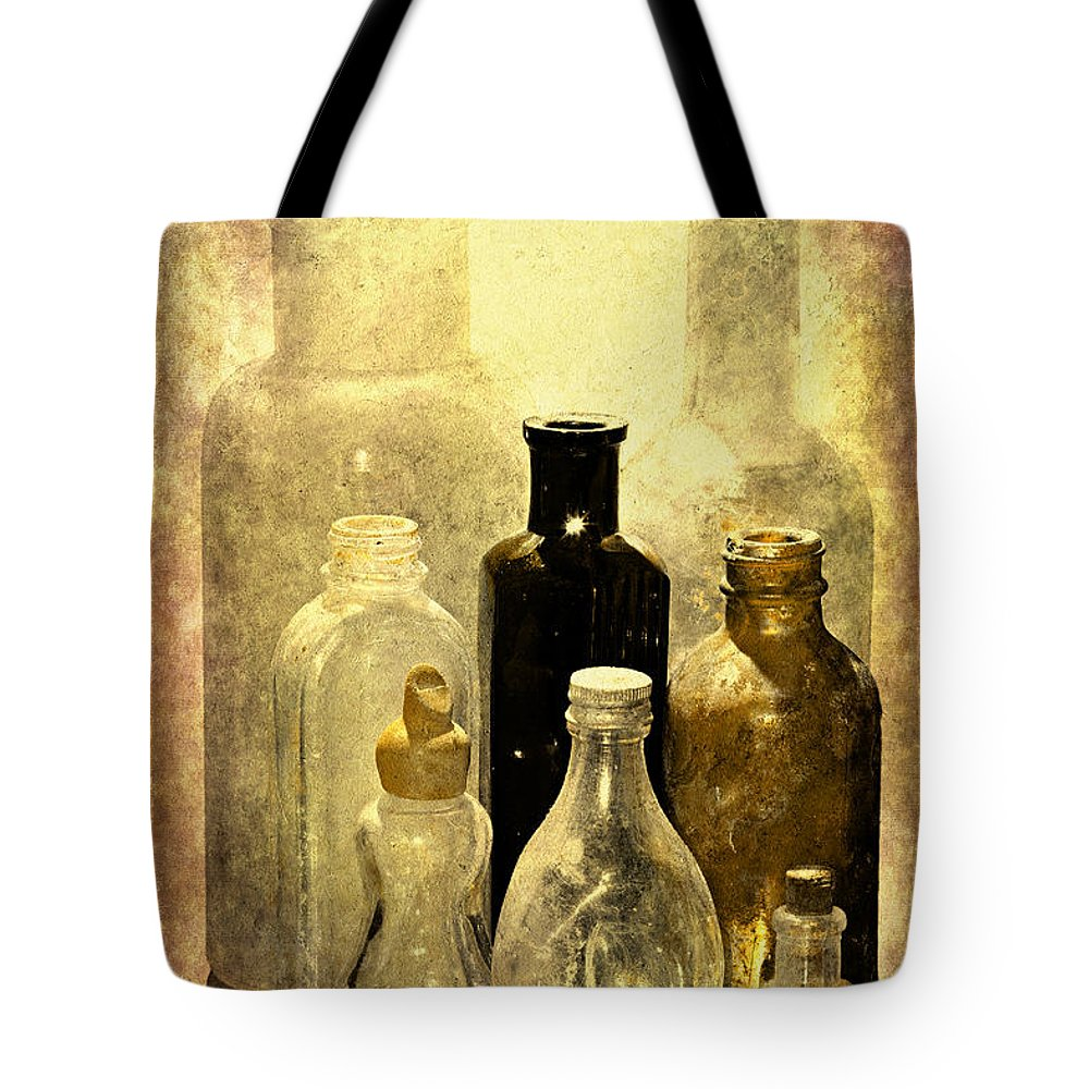 Bottles Tote Bag featuring the photograph Bottles From The Past by Phyllis Denton