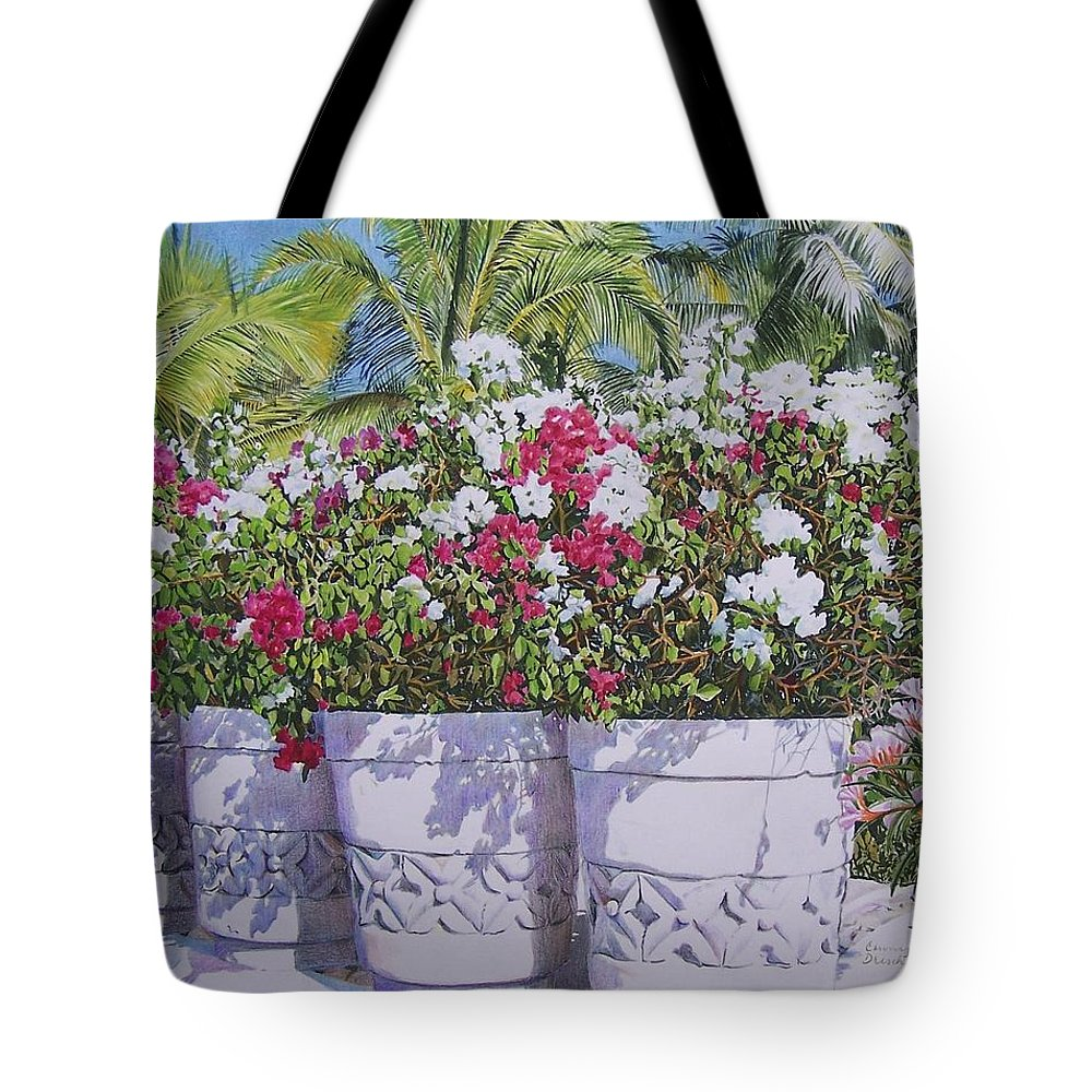 Flowers Tote Bag featuring the mixed media Bougainvillea by Constance Drescher