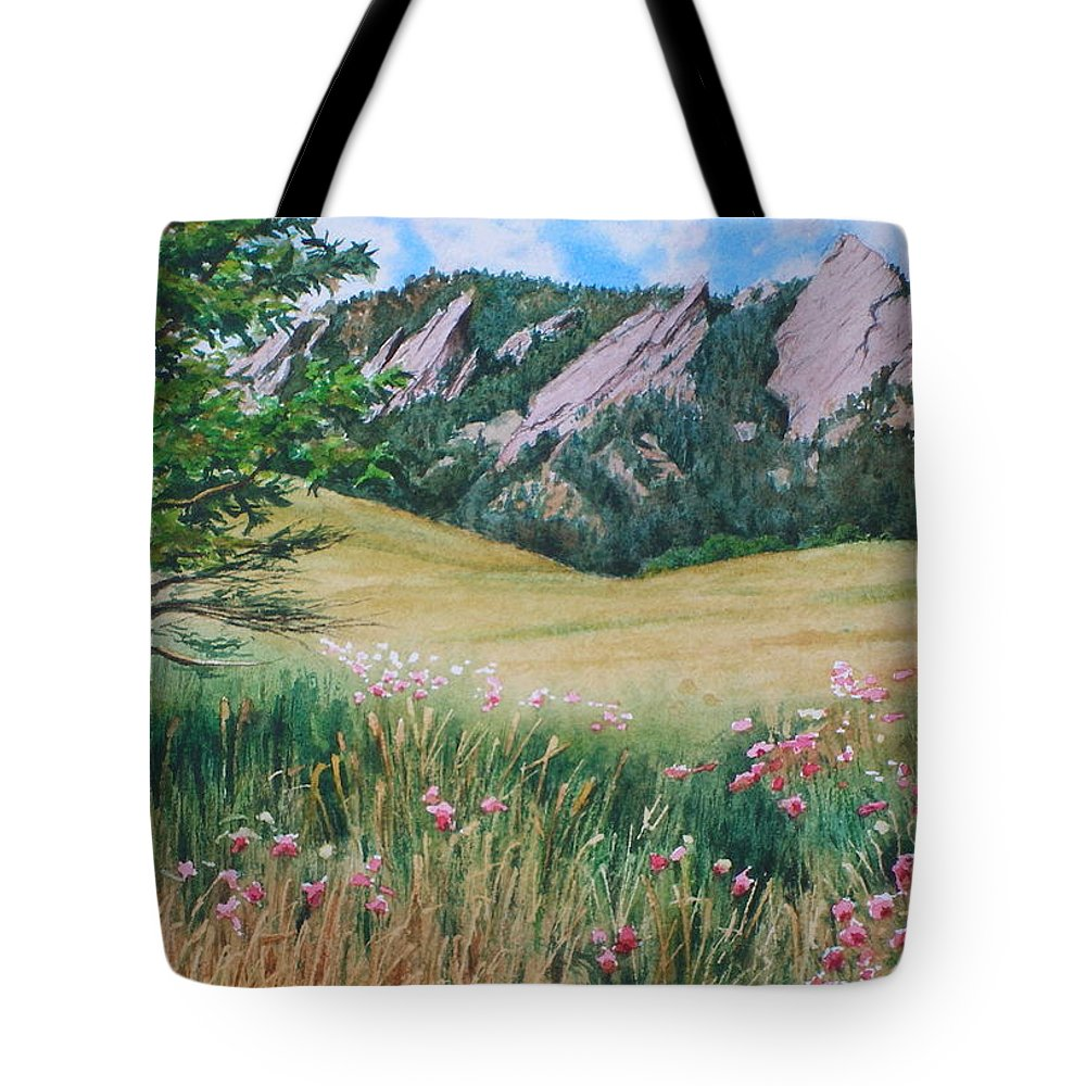 Watercolor Tote Bag featuring the painting Boulder Flatirons - Chautauqua Study by Daniel Dayley