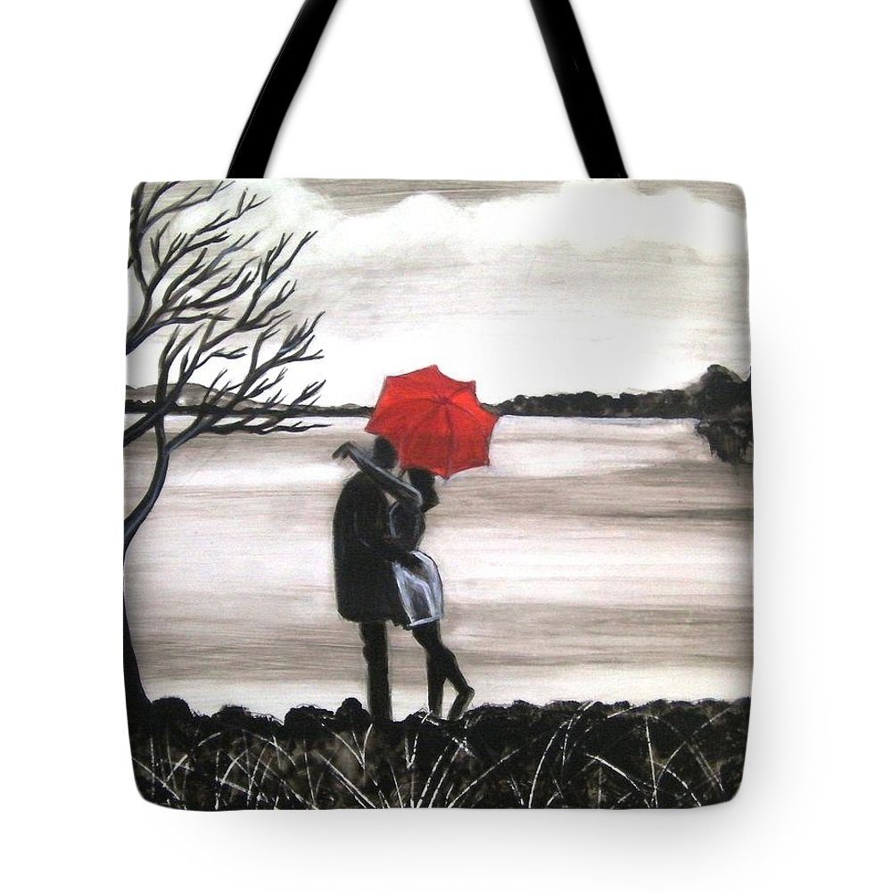 Love Valentine Romance Romantic Tote Bag featuring the painting Bound by Love by Manjiri Kanvinde