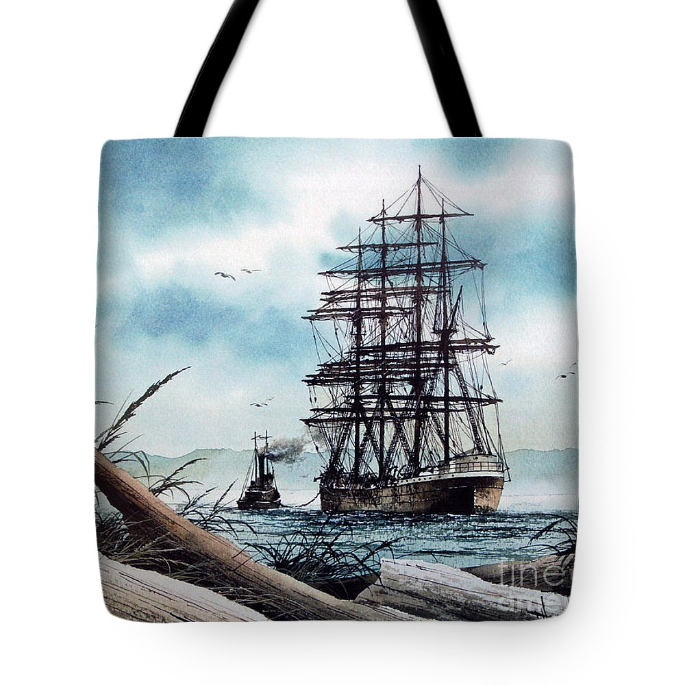 Tall Ship Tote Bag featuring the painting Bound For Blue Water by James Williamson