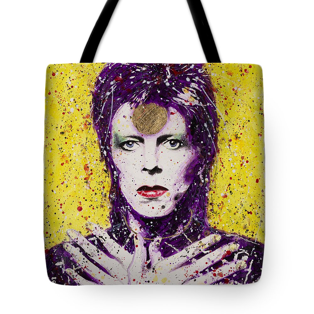 David Tote Bag featuring the painting Bowie by Chris Mackie