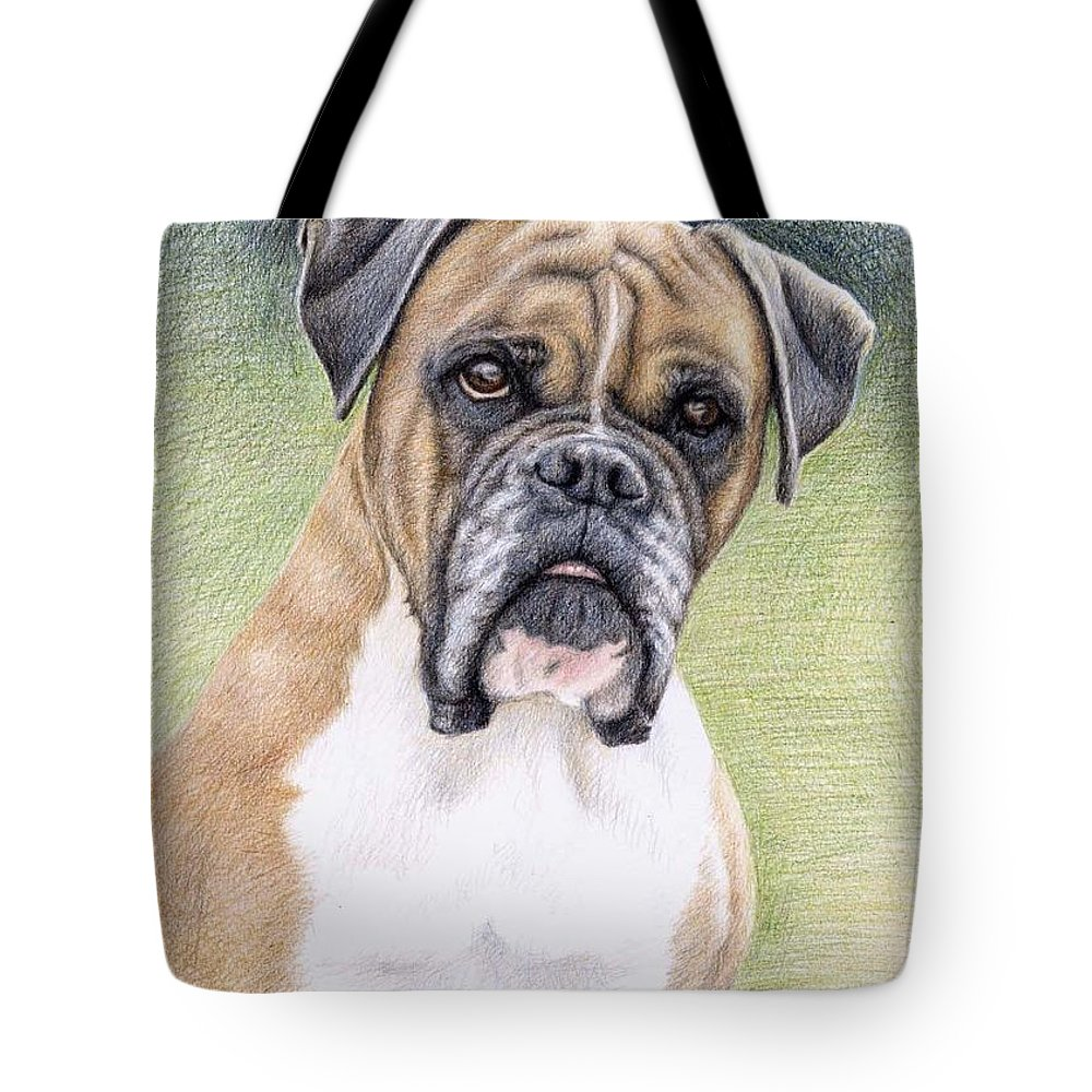 Dog Tote Bag featuring the drawing Boxer Portrait by Nicole Zeug