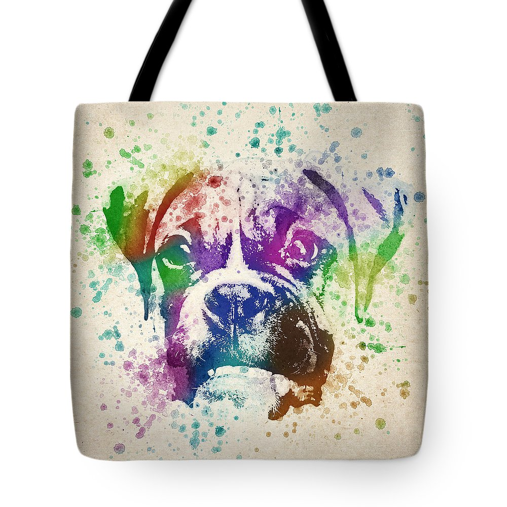 Boxer Tote Bag featuring the digital art Boxer Splash by Aged Pixel