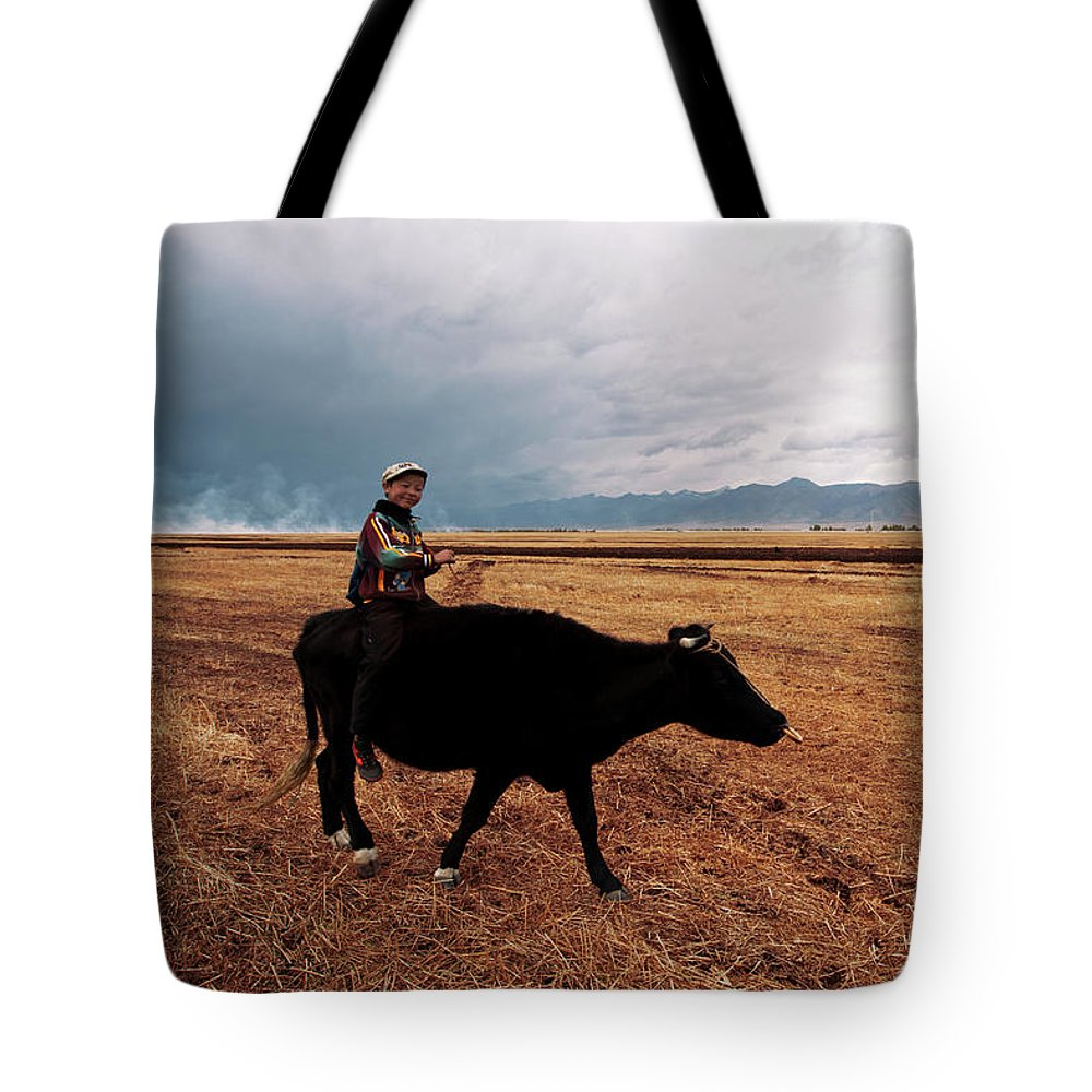 Scenics Tote Bag featuring the photograph Boy Sitting Cow In Field by Touch The Word By Heart.