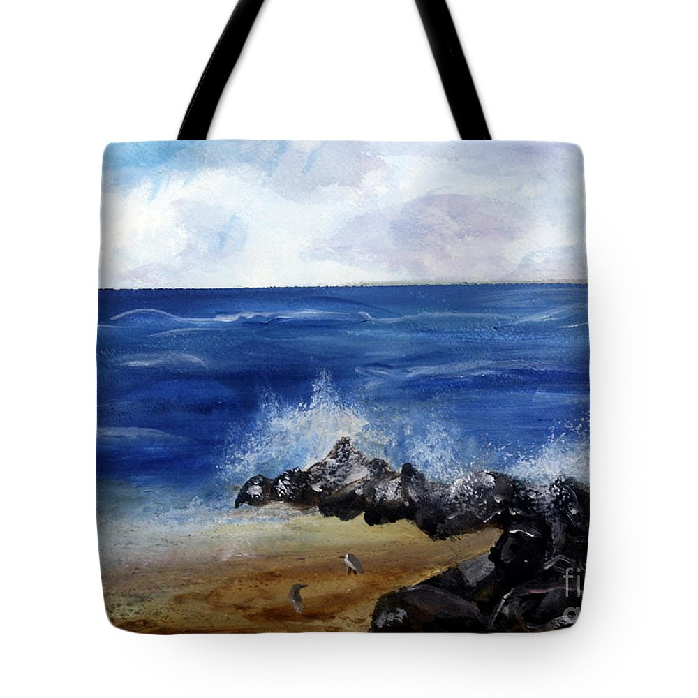 Beach Tote Bag featuring the painting Boynton Waves by Donna Walsh