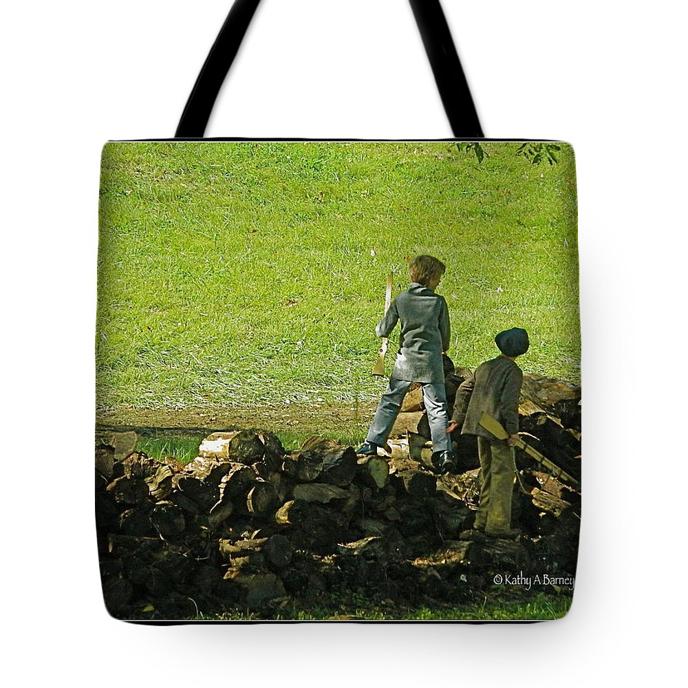 Boys Tote Bag featuring the photograph Boys Will Be Boys by Kathy Barney