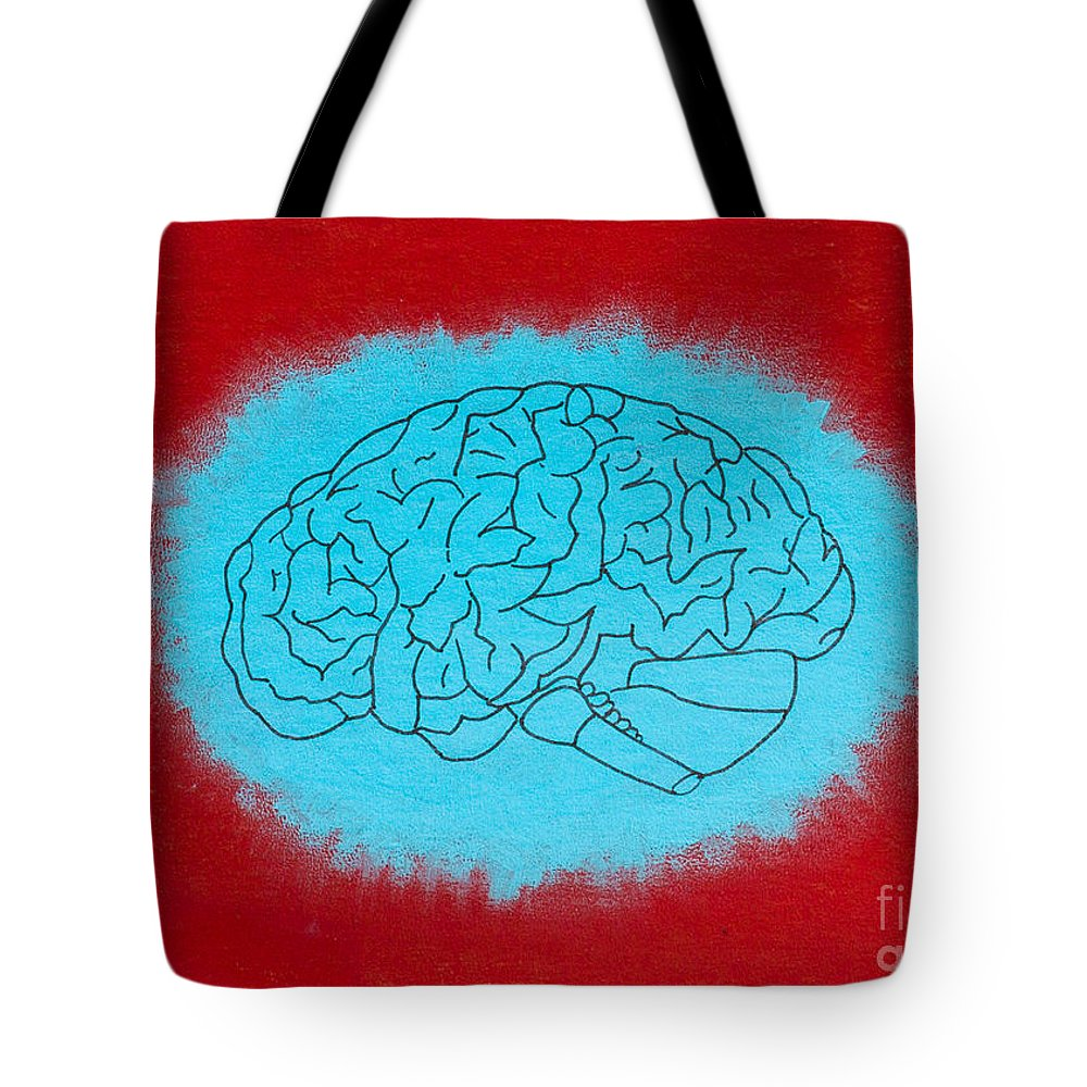 Tote Bag featuring the painting Brain Blue by Stefanie Forck