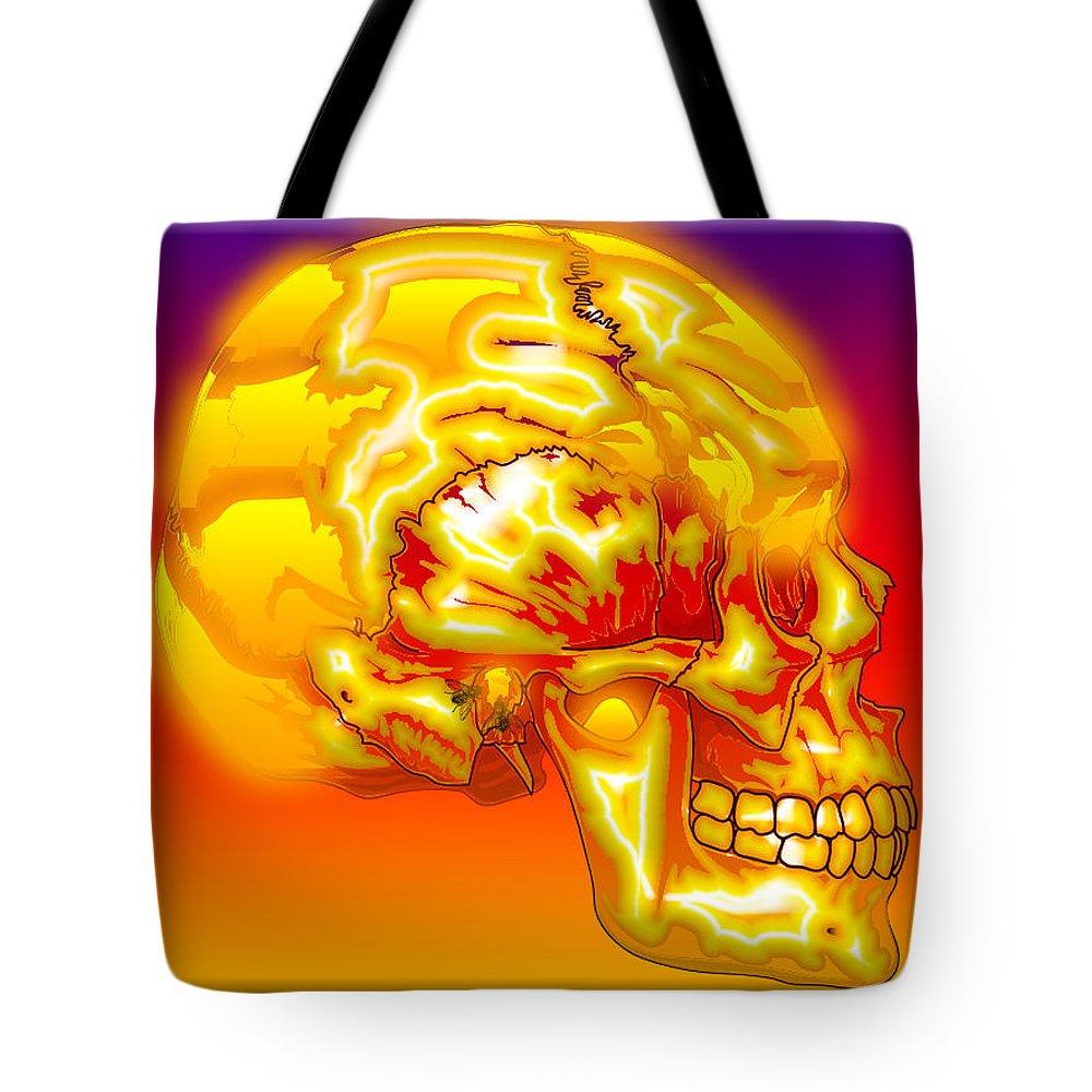 Skull Tote Bag featuring the digital art Brain Storm by Robert Orinski