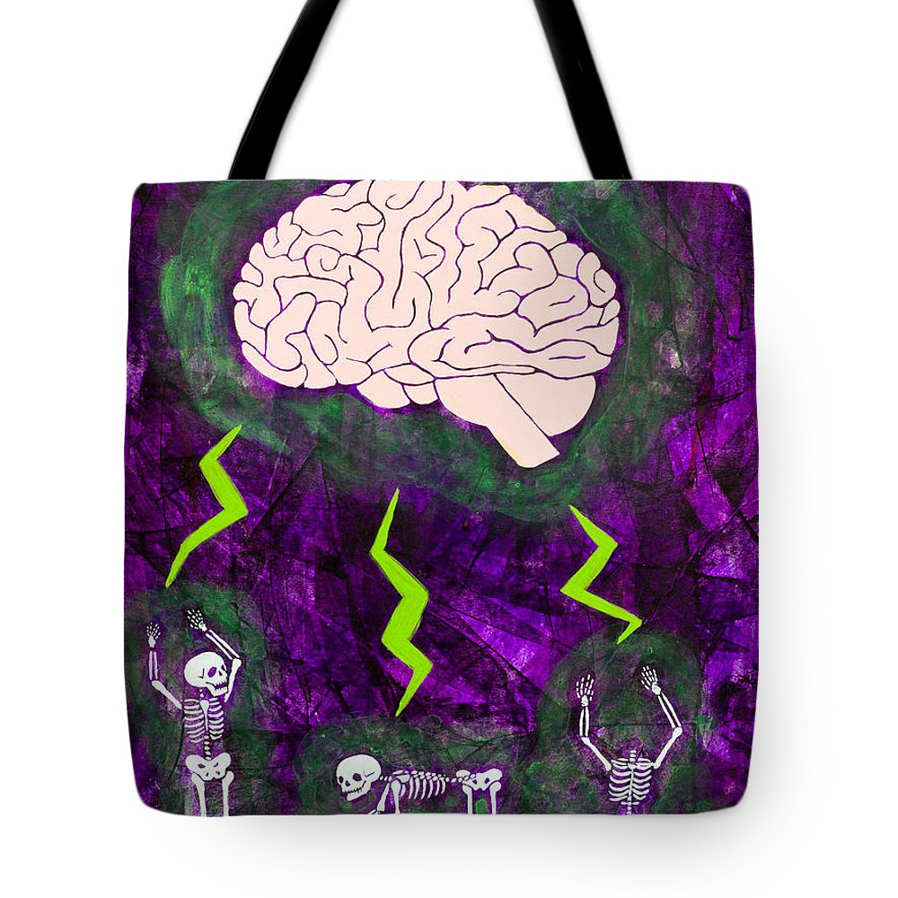 Purple Tote Bag featuring the painting Brain Storm by Stefanie Forck
