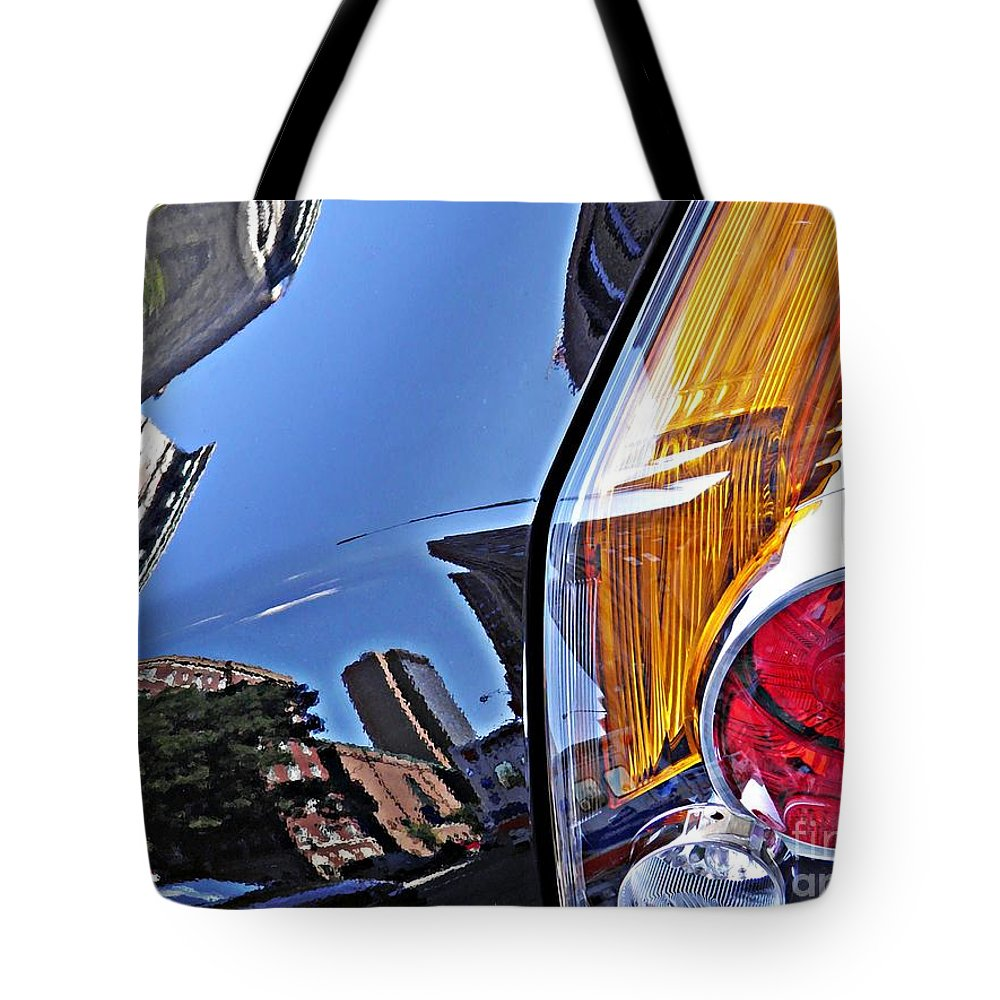 Glass Tote Bag featuring the photograph Brake Light 19 by Sarah Loft