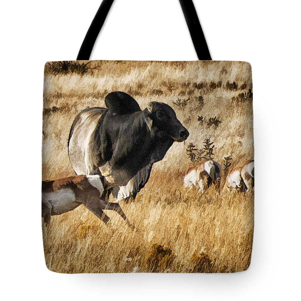 Pronghorn Tote Bag featuring the photograph Brahma Bull Meets The Pronghorn by Priscilla Burgers