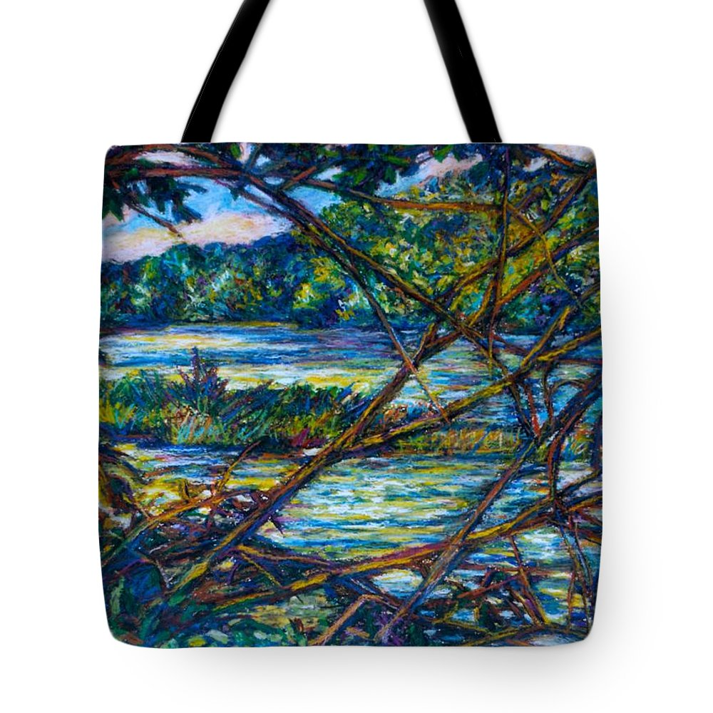 New River Tote Bag featuring the painting Brances Over The New River by Kendall Kessler
