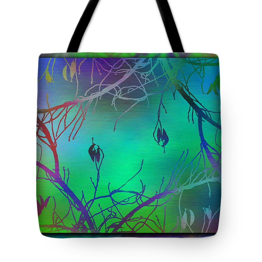 Abstract Tote Bag featuring the digital art Branches In The Mist 35 by Tim Allen