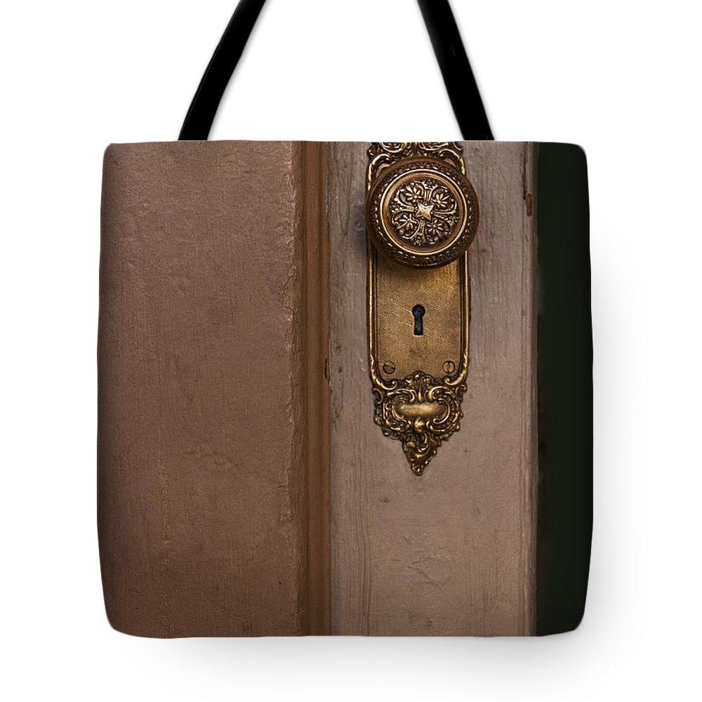 Vintage Tote Bag featuring the photograph Brass Knob by Margie Hurwich