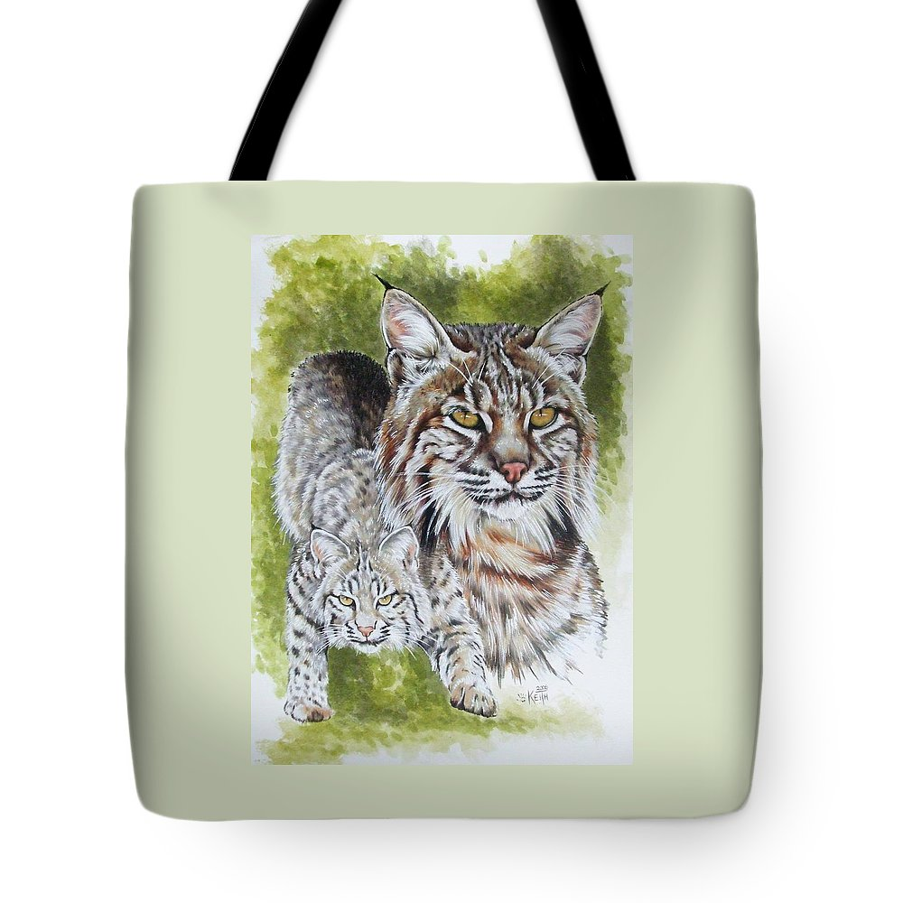 Small Cat Tote Bag featuring the mixed media Brassy by Barbara Keith