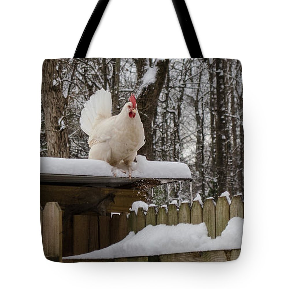 Chicken Tote Bag featuring the photograph Brave New World by Donna Brown