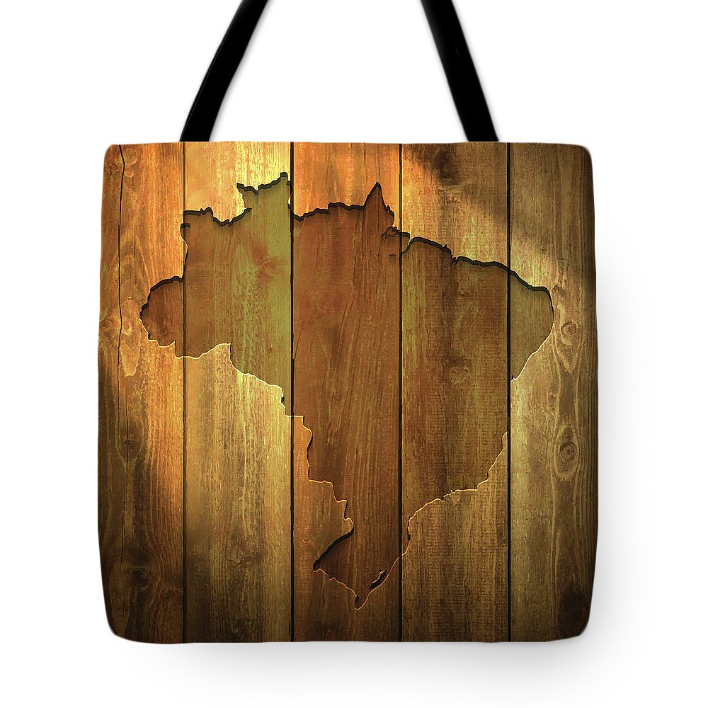 Material Tote Bag featuring the digital art Brazil Map On Lit Wooden Background by Bgblue