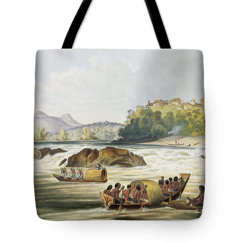 Brazil Tote Bag featuring the drawing Brazilian Fort St. Gabriel On The Rio by Charles Bentley