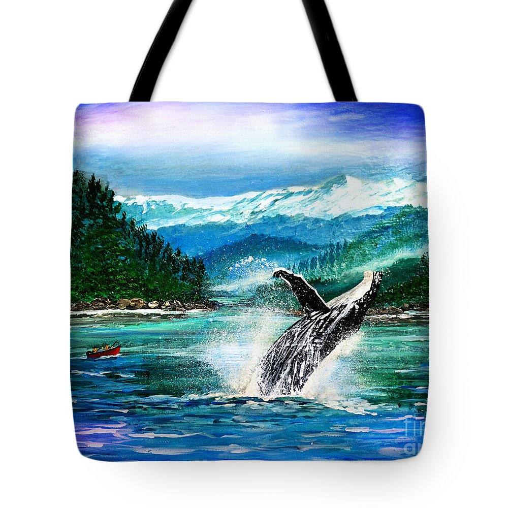 Breaching Whale Tote Bag featuring the painting Breaching Humpback Whale by Patricia L Davidson