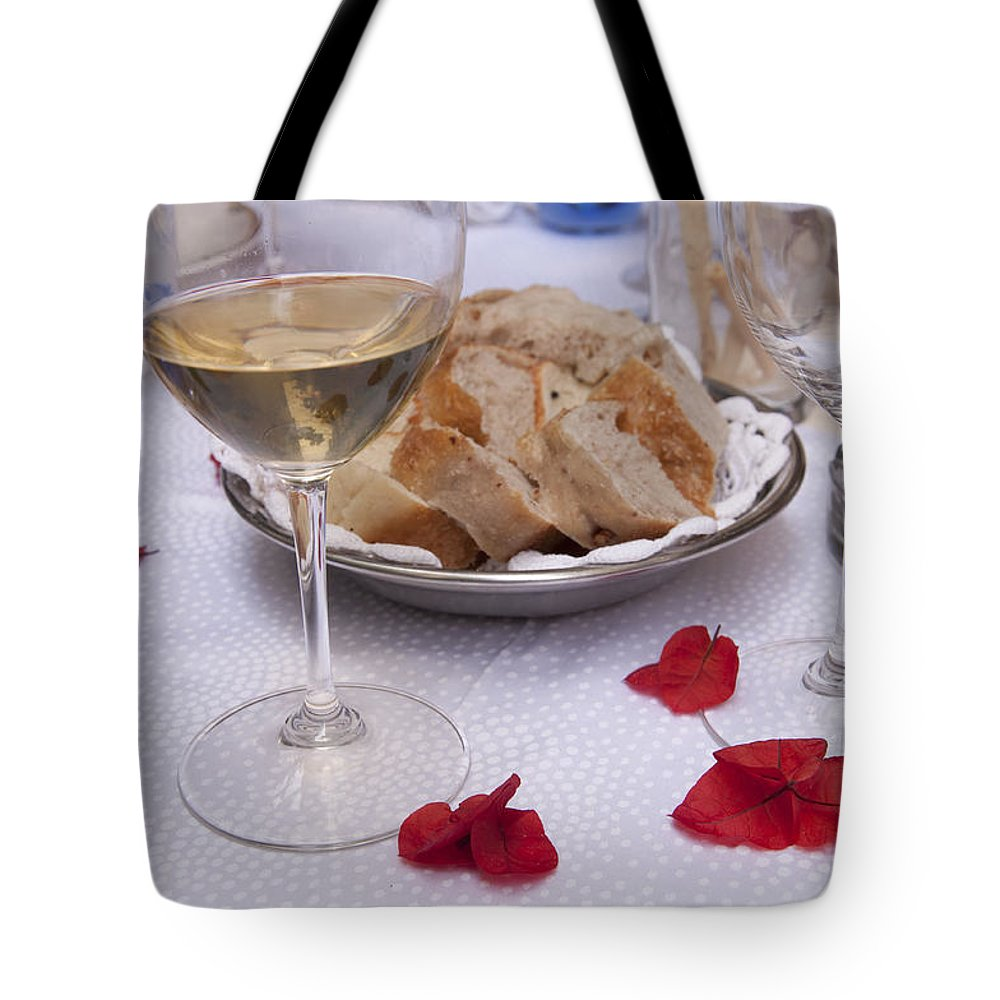 Bread Tote Bag featuring the photograph Bread And Wine Italian Restaurant by Antique Images