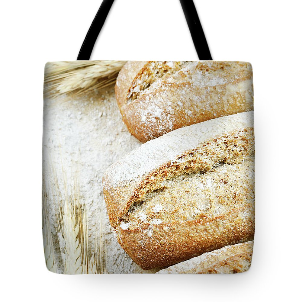 Breakfast Tote Bag featuring the photograph Bread by Cactusoup