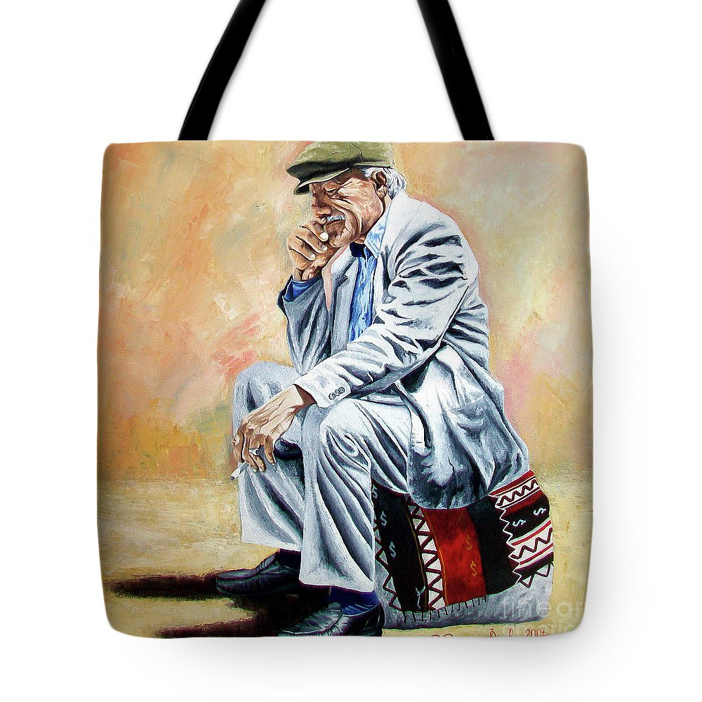 Figurative Tote Bag featuring the painting Break For Smoking - Apeadero Para Fumar by Rezzan Erguvan-Onal