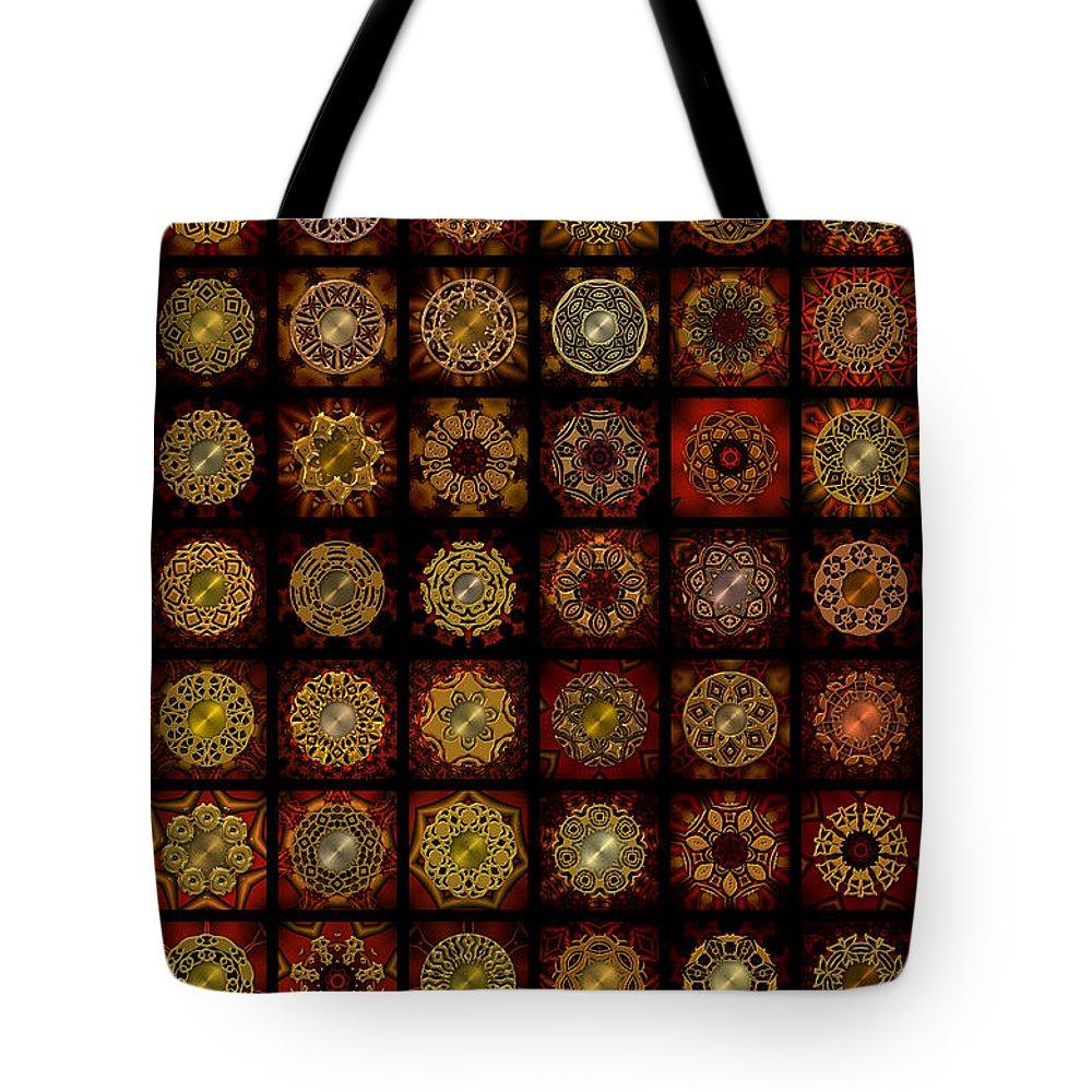 Brown Tote Bag featuring the digital art Breakfast Bagels Dingbat Quilt by Ann Stretton