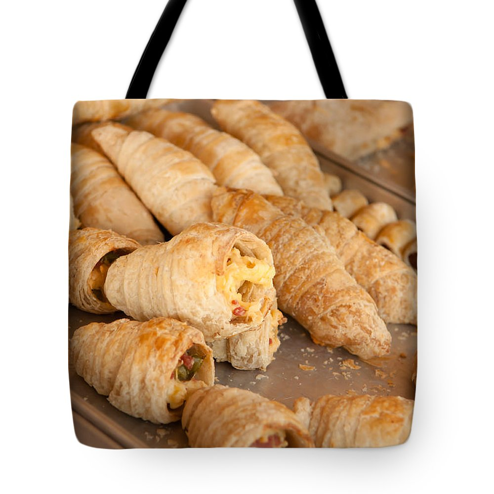 Bake Tote Bag featuring the photograph Breakfast Croissant by Brandon Bourdages