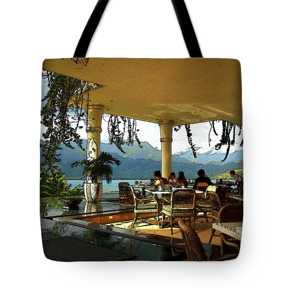Restaurant Tote Bag featuring the photograph Breakfast In Hanalei by James Eddy