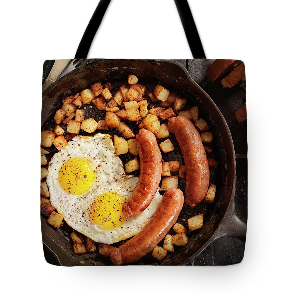 Breakfast Tote Bag featuring the photograph Breakfast With Sunny Side Up Eggs And by Lauripatterson