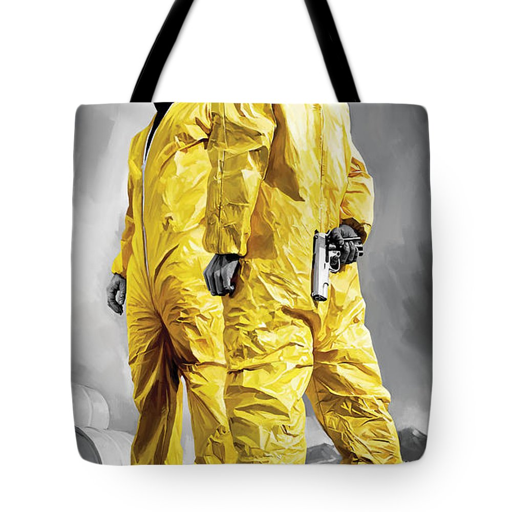 Breaking Bad Paintings Tote Bag featuring the painting Breaking Bad Artwork by Sheraz A