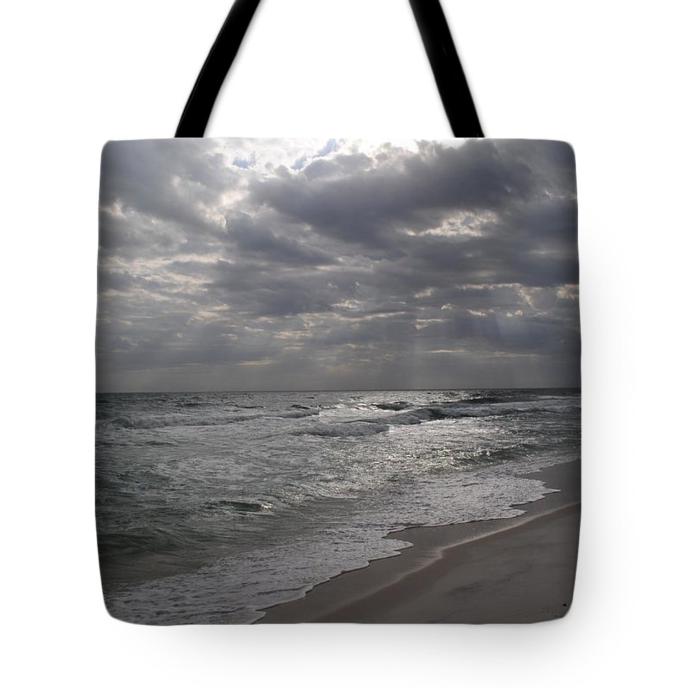 Sunset Tote Bag featuring the photograph Breaking Through by Lucy Bounds