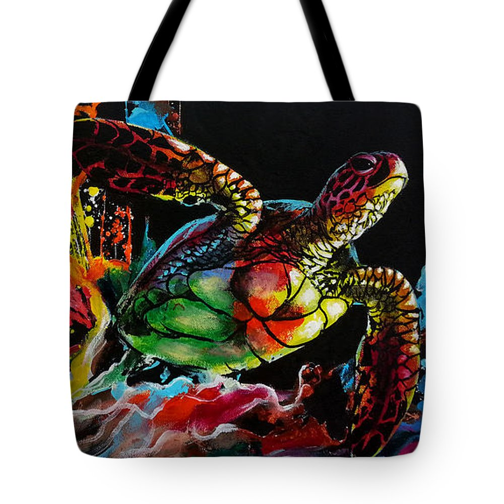 Sea Turtle Tote Bag featuring the painting Breaking Through by Marco Antonio Aguilar
