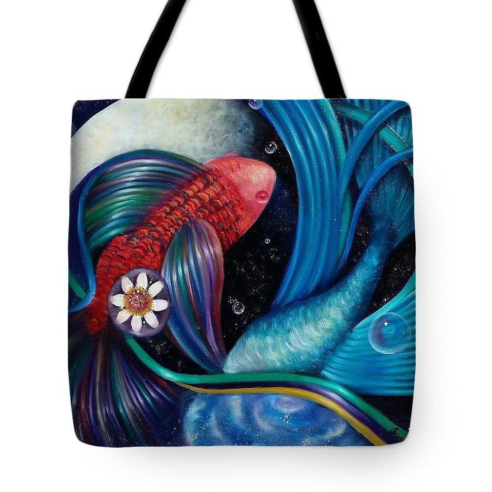 Fish Tote Bag featuring the painting Breakthrough by Jessica Venzor