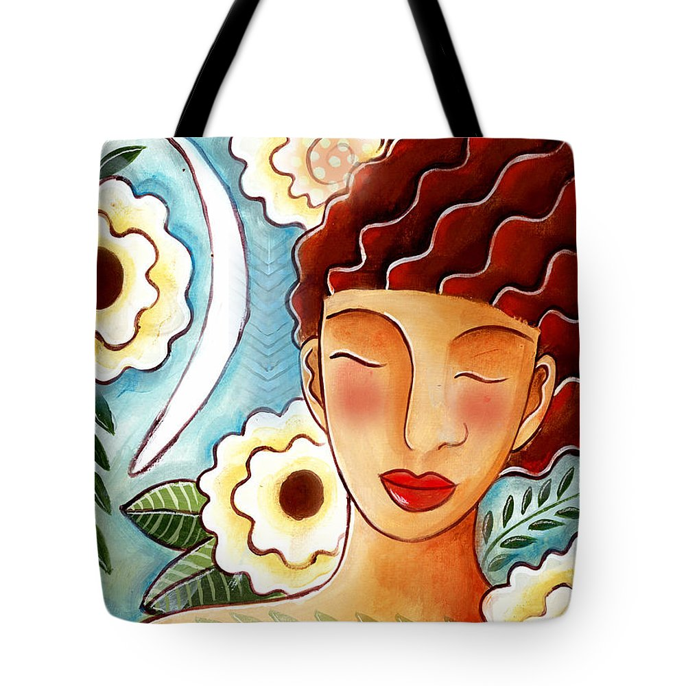 Figurative Tote Bag featuring the mixed media Breathing in the Moment by Elaine Jackson