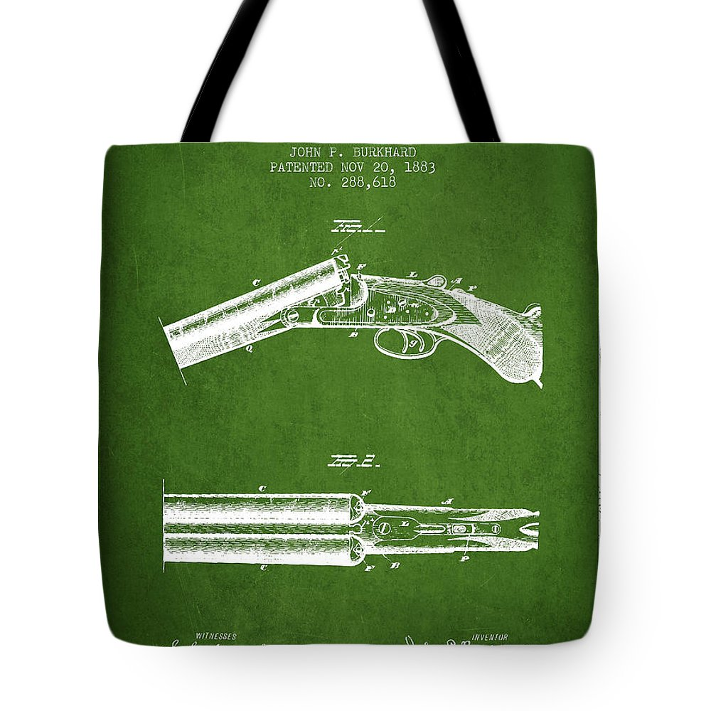 Rifle Patent Tote Bag featuring the digital art Breech Loading Gun Patent Drawing From 1883 - Green by Aged Pixel