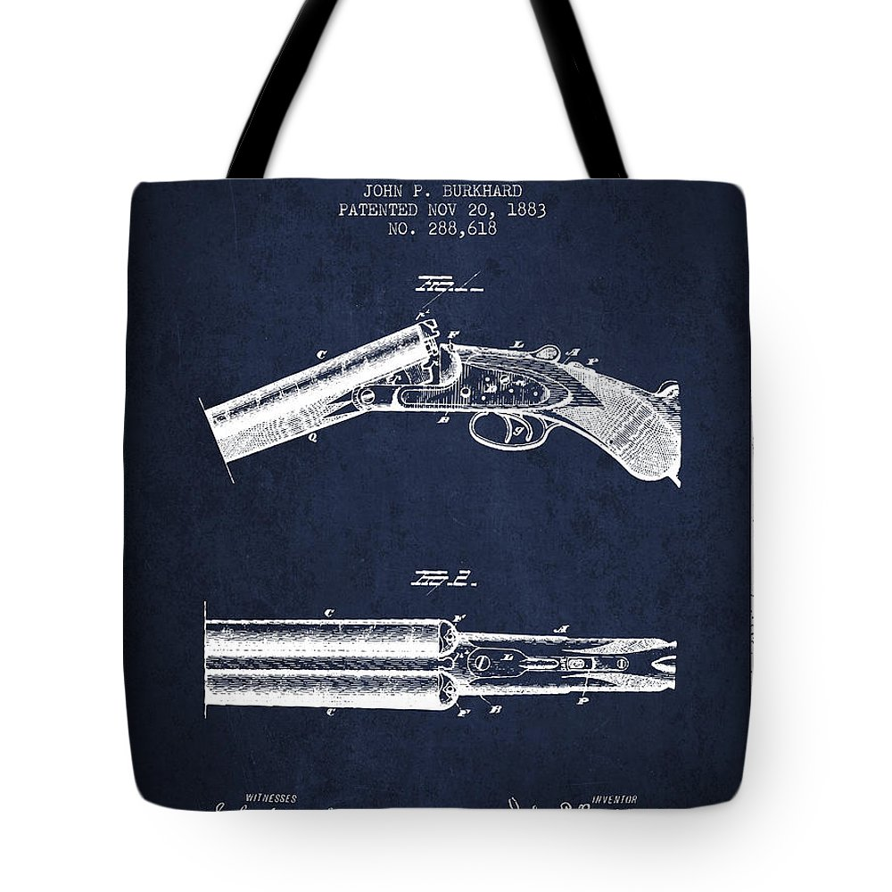 Rifle Patent Tote Bag featuring the digital art Breech Loading Gun Patent Drawing From 1883 - Navy Blue by Aged Pixel